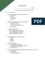 nutrition unit test-2