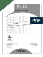 Faac S418 Swing Gate Operator Manual