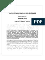 Decreto Gobierno Interino de Bolivia Que Llama a Elecciones