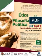 """Afiche del Seminario Internacional """"Ética y Filosofía Política para el siglo XXI"""""""