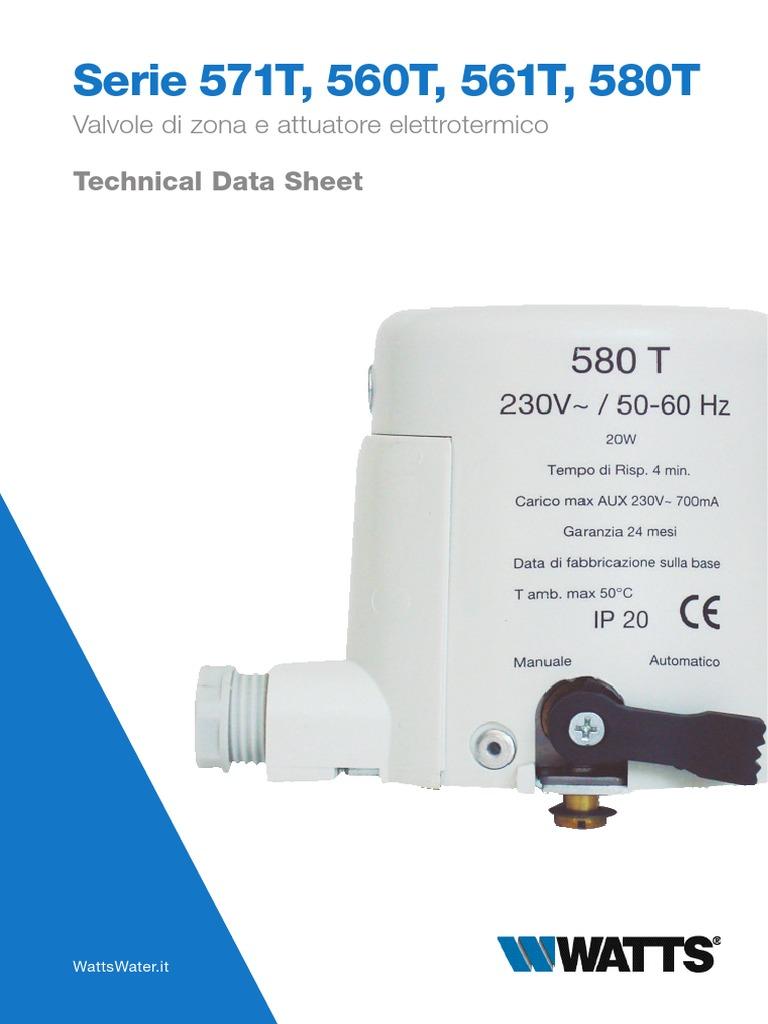 580T Attuatore Elettrotermico Normalmente Aperto 230V Per Valvola Zona WATTS 580