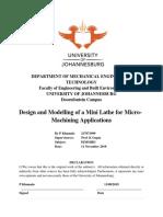 Design of a Mini Lathe Machine - Final Report November 2019