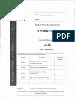 End of Year Maths Exam Grade 9 2018_SOLS