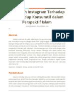 Pengaruh Instagram Terhadap Gaya Hidup Konsumtif dalam Perspektif Islam