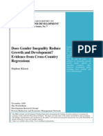 Gender Inequality Reduce Growth ( World Bank)