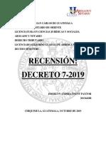 Recension Decreto 7 2019