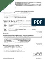 Oxford Solutions Pre-Int Short Test Unit 1 1B