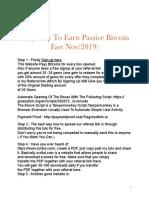 Easy Passive BTC Fast (November 2019)