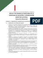 Ed. Diferencial Déficit Por Graves Alteraciones de La Capacidad de Relación y Comunicación (e. Autista)