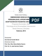 DIMENSIONES BÁSICAS DE LA PERSONALIDAD, AFRONTAMIENTO Y ADAPTACIÓN EN  PACIENTES ONCOLÓGICOS