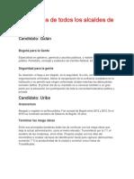 Propuestas de Todos Los Alcaldes de Bogotá