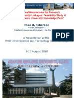 Institutional Mechanisms for Research Institutions/Industry Linkages