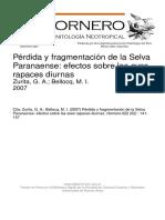 Zurita 2007 Fragmentación SELVA PARANAENSE Aves