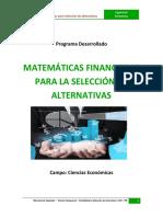Matematicas Financieras Para La Selección de Alternativas