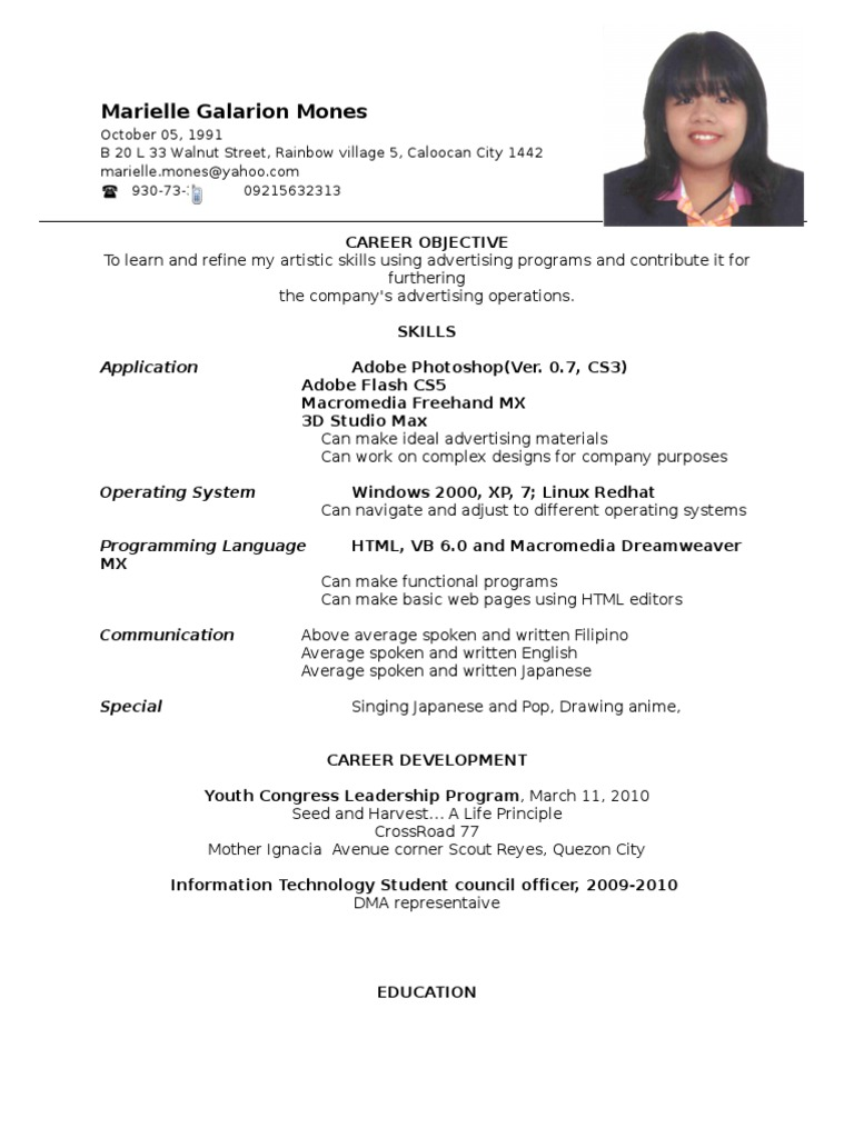 resume format ojt