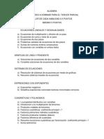 Lista de Habilidades a Considerar en La Evaluacion Del Tercer Parcial de Algebra