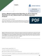 Using a Matlab Implemented Algorithm for Uv-Vis Spectral