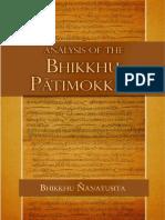 Analysis of Bhikkhu Pātimokkha-Bhikkhu Nyanatusita