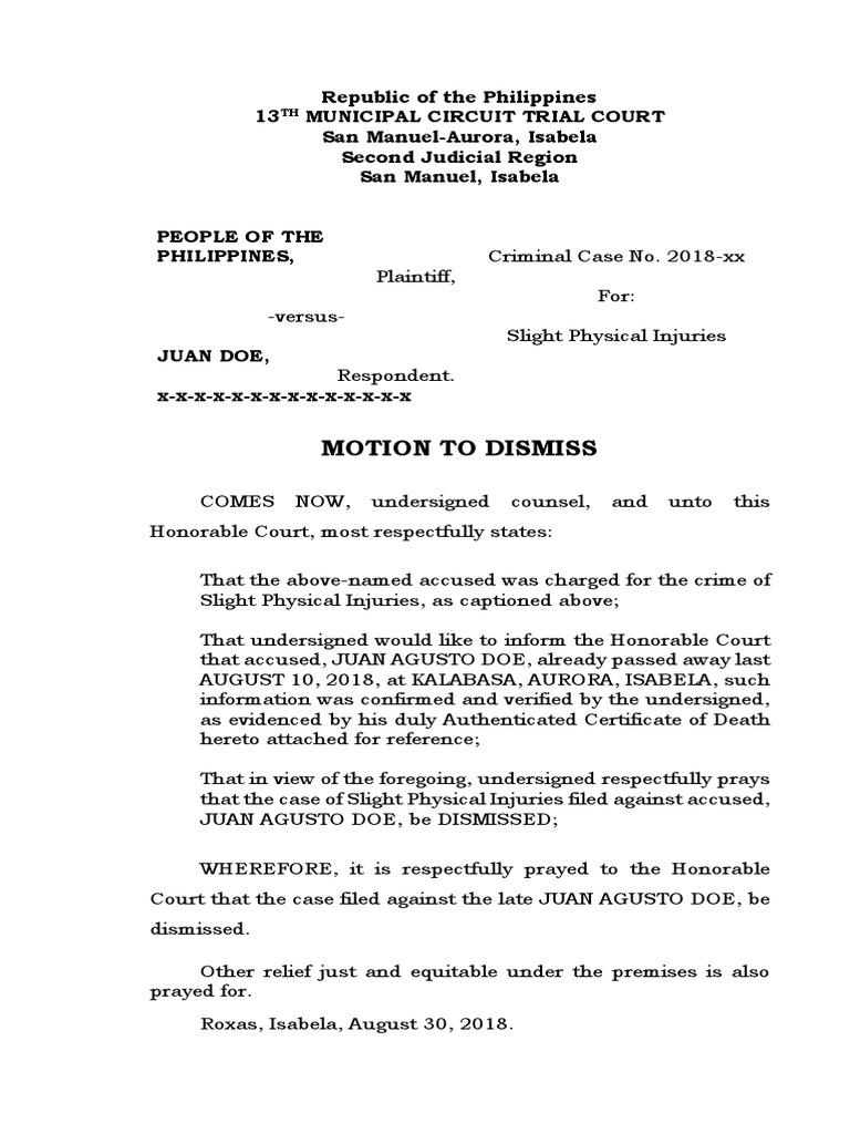 Motion To Dismiss (Death) XX