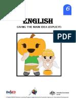 English 6 DLP 17 -Giving the Main Idea