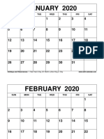 Free Printable 2020 Monthly Calendar