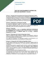 Reglamento de Funcionamiento Interno Del Comité de Seguridad y Salud