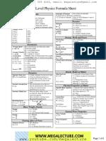 o Level Physics Formula Sheet 2