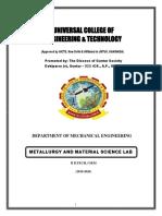 Metallurgy & Material Science Lab Manual