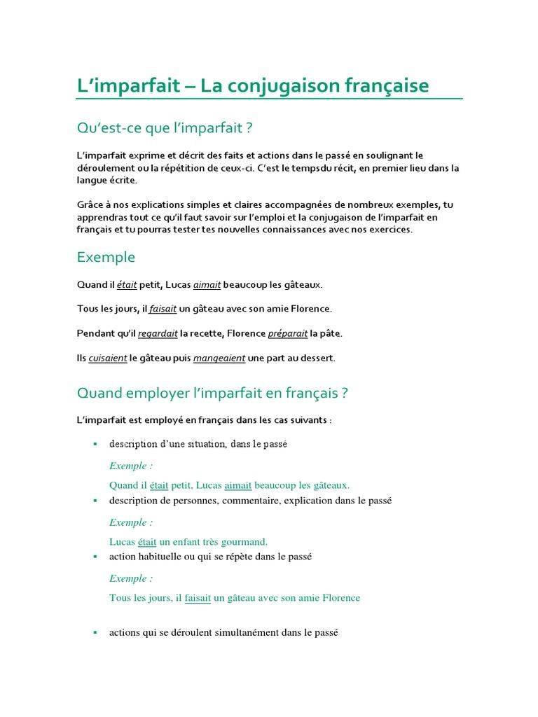 Limparfait En Fran Ef Bf Bdais Exercices Francais Archives Ochsenmeier Com