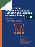 Propositions pour une meilleure maîtrise des langues vivantes étrangères