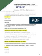 CCNA3 v60 Final Exam Answers Option a 100