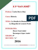 Batalla de Huamachuco y Biografia de Leoncio Prado