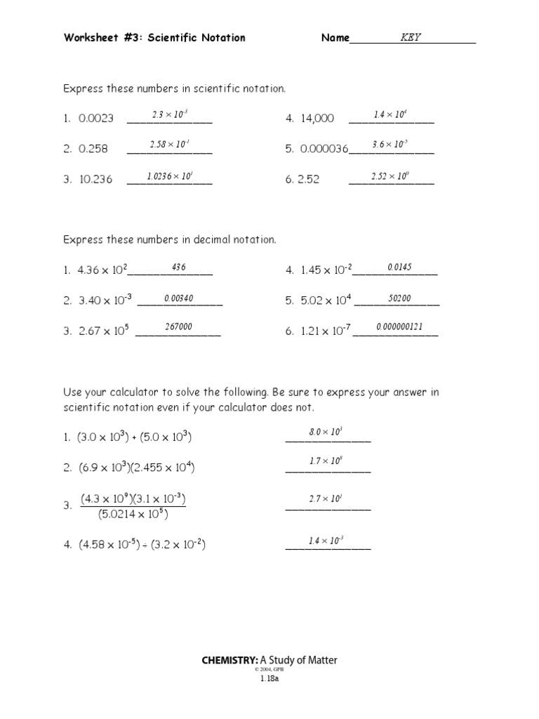 223-2238a-Scientific Notation WKST 23-Key  PDF  Mathematical Notation For Scientific Notation Worksheet Answer Key