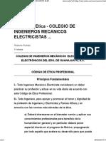 Código de Etica Para Ingenieros Mecànicos Electricistas