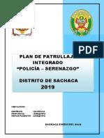 Plan Patrullaje Integrado Sachaca 2019