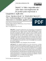 """Do """"Corpo Falado"""" à """"Fala Corporificada"""" - A Compreensão Das Convergências de Estruturas de Poder Para Repensar a Linguística Aplicada"""