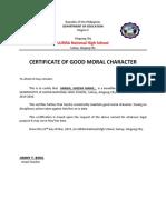 Good Moral Certificate 2