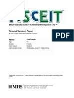 MSCEIT Personal Summary Report
