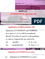 Mat121 Note VI on Differentiation