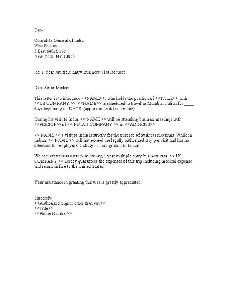 Sample business letter for indian visa altavistaventures Gallery