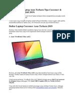 Rekomendasi Laptop Asus Terbaru Tipe Consumer