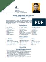 Fahad Iqbal CV Manager Accounts & Taxation