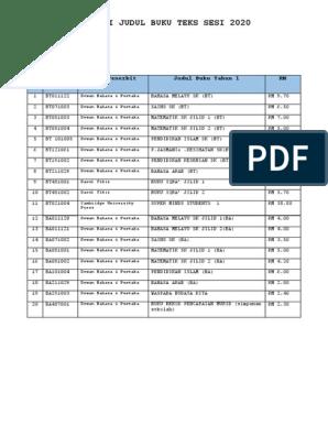 Senarai Judul Buku Teks 2020