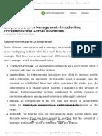 Entrpreneurship vs Management - Introduction, Entrepreneurship & Small Businesses B Com Notes _