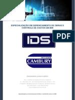 ESPECIALIZAÇÃO EM GERENCIAMENTO DE OBRAS E CONTROLE DE CUSTOS EM BIM cambury