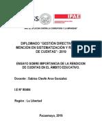 ENSAYO SOBRE IMPORTANCIA DE LA RENDICIÓN DE CUENTAS EN EL ÁMBITO EDUCATIVO.