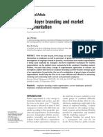 Employer Branding and Market Segmentation 2009