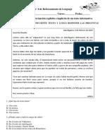 Guía n°9 de reforzamiento de lenguaje 4 basico