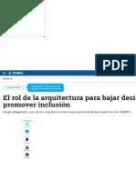 El rol de la arquitectura para bajar desigualdad y promover inclusión - Bogotá