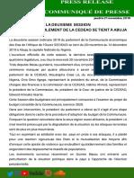 COMMUNIQUE DE PRESSE NO. 004/2019, LE 21 NOVEMBRE, 2019.